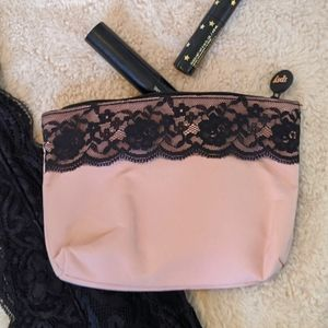 ✨NWOT IPSY Bag Pink With Black Lace
